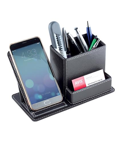 Telefon Stantlı Deri Kalemlik ve Kartvizitlik
